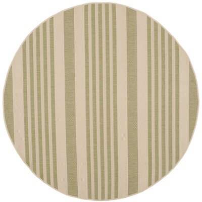 Sophina Beige/Sweet Pea Striped Contemporary Indoor/Outdoor Area Rug Rug Size: Round 5