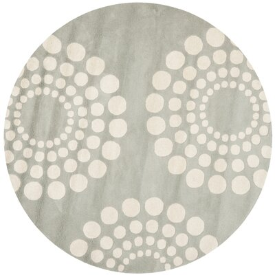 Dash Hand-Tufted Wool Gray/Ivory Area Rug Rug Size: Round 6