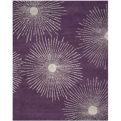 Dash Purple & Ivory Area Rug Rug Size: Rectangle 76 x 96