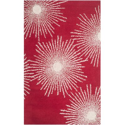Dash Red/Ivory Rug Rug Size: Rectangle 5 x 8