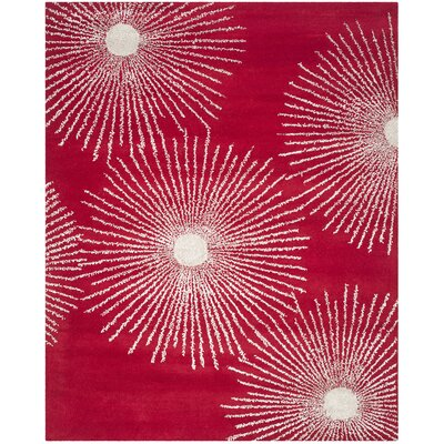 Dash Red/Ivory Rug Rug Size: Rectangle 76 x 96