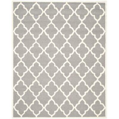 Charlenne Hand-Tufted Dark Grey/Ivory Area Rug Rug Size: Rectangle 8 x 10
