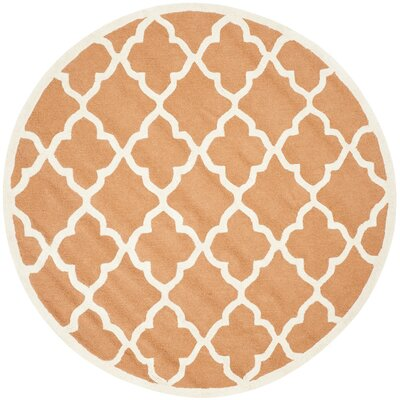 Charlenne Hand-Tufted Orange/Ivory Area Rug Rug Size: Round 6