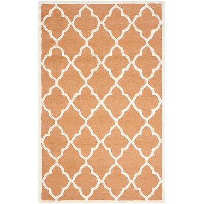 Charlenne Hand-Tufted Orange/Ivory Area Rug Rug Size: Rectangle 5 x 8