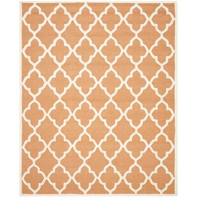 Charlenne Hand-Tufted Orange/Ivory Area Rug Rug Size: Rectangle 8 x 10