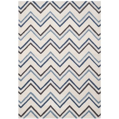 Charlenne Ivory / Blue Chevron Area Rug Rug Size: Rectangle 5 x 8