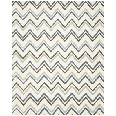 Charlenne Ivory / Blue Chevron Area Rug Rug Size: Rectangle 8 x 10