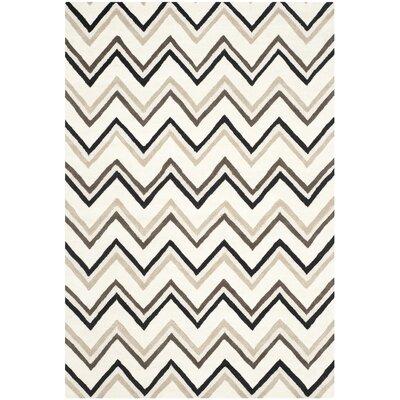 Charlenne Hand-Tufted Wool Ivory/Black Area Rug Rug Size: Rectangle 6 x 9