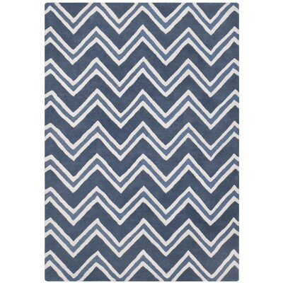 Charlenne Hand-Tufted Navy/Ivory Area Rug Rug Size: Rectangle 5 x 8