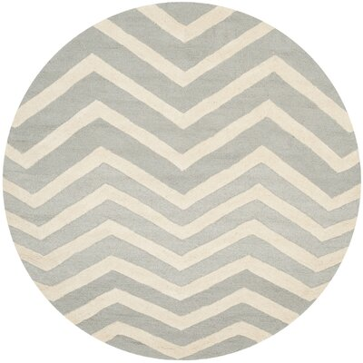 Charlenne Hand-Tufted Gray/Ivory Area Rug Rug Size: Round 6
