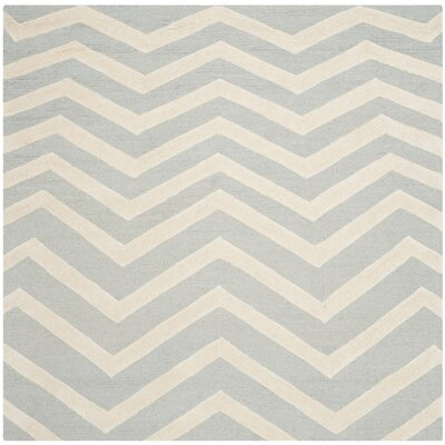 Charlenne Hand-Tufted Gray/Ivory Area Rug Rug Size: Square 6