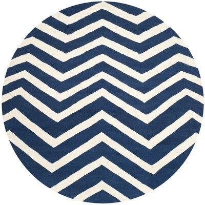 Charlenne Hand-Tufted Wool Blue/Ivory Area Rug Rug Size: Round 6