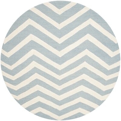 Charlenne Hand-Tufted Wool Gray/Ivory Area Rug Rug Size: Round 6