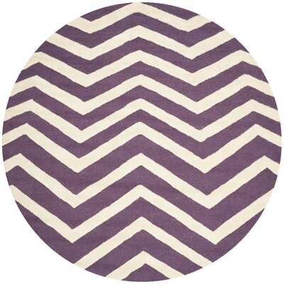 Charlenne Hand-Tufted Purple/Ivory Area Rug Rug Size: Round 6