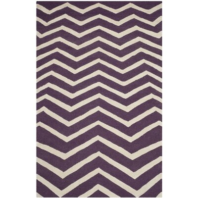 Charlenne Hand-Tufted Purple/Ivory Area Rug Rug Size: Rectangle 5 x 8