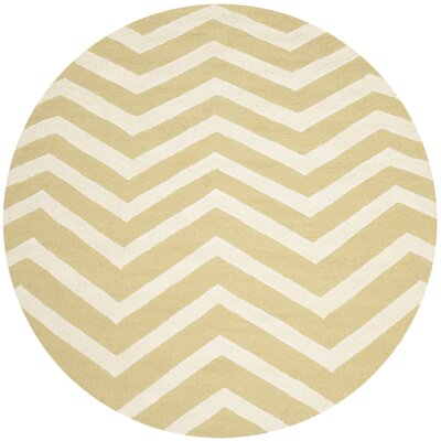 Charlenne Hand-Tufted Wool Light Gold/Ivory Area Rug Rug Size: Round 6 x 6