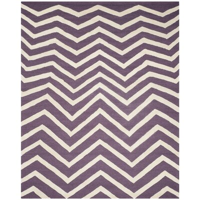 Charlenne Hand-Tufted Purple/Ivory Area Rug Rug Size: Rectangle 8 x 10