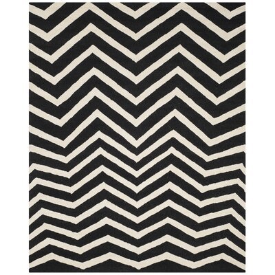 Charlenne Hand-Tufted Black/Ivory Area Rug Rug Size: Rectangle 8 x 10