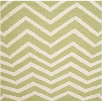 Charlenne Hand-Tufted Wool Green/Ivory Area Rug Rug Size: Square 6