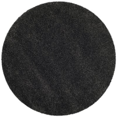 Buster Dark Gray Area Rug Rug Size: Round 51