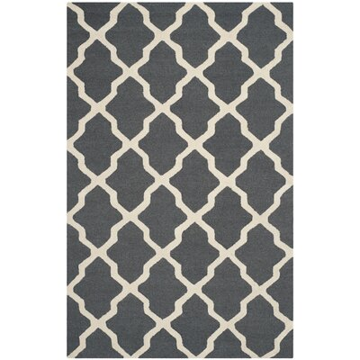 Charlenne Wool Dark Gray/Ivory Area Rug Rug Size: Rectangle 5 x 8