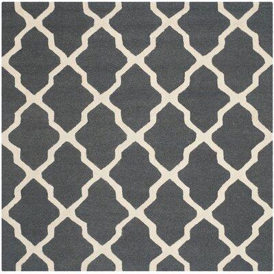 Charlenne Wool Dark Gray/Ivory Area Rug Rug Size: Square 6