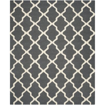 Charlenne Wool Dark Gray/Ivory Area Rug Rug Size: Rectangle 8 x 10