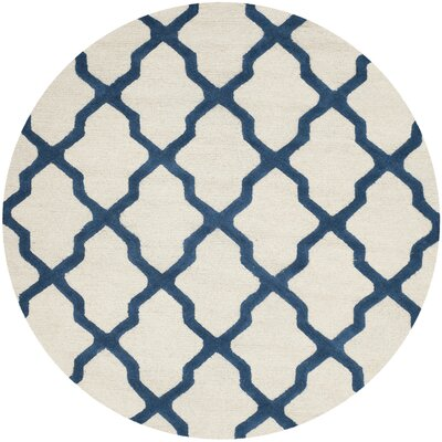 Charlenne Hand-Tufted Ivory Area Rug Rug Size: Round 6