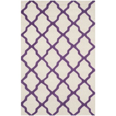 Charlenne Ivory / Purple Area Rug Rug Size: Rectangle 5 x 8