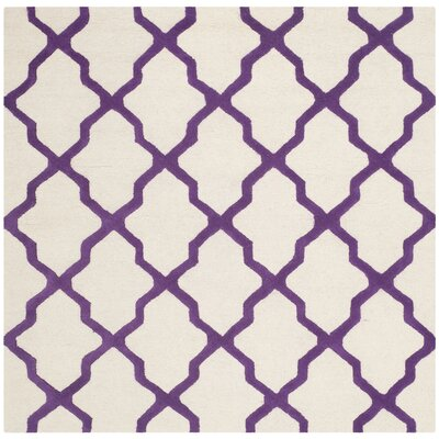 Charlenne Ivory / Purple Area Rug Rug Size: Square 6