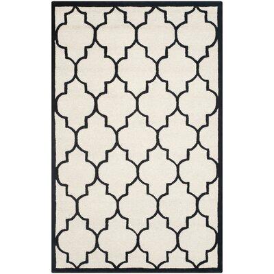 Charlenne Hand-Tufted Ivory/Black Area Rug Rug Size: Rectangle 5 x 8