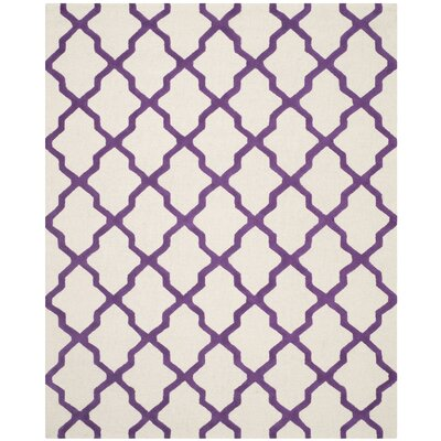 Charlenne Ivory / Purple Area Rug Rug Size: Rectangle 8 x 10