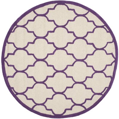 Charlenne Hand-Tufted Ivory/Purple Area Rug Rug Size: Round 6
