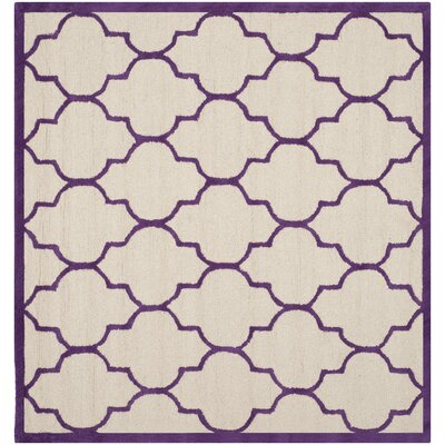 Charlene Hand-Tufted Ivory/Purple Area Rug Rug Size: Square 6