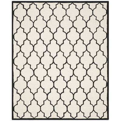 Charlenne Hand-Tufted Ivory/Black Area Rug Rug Size: Rectangle 8 x 10