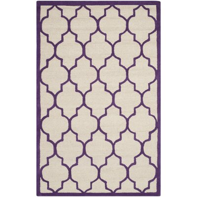 Charlenne Hand-Tufted Ivory/Purple Area Rug Rug Size: Rectangle 5 x 8