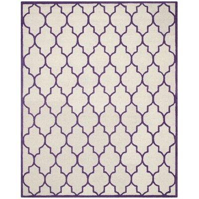 Charlene Hand-Tufted Ivory/Purple Area Rug Rug Size: Rectangle 8 x 10