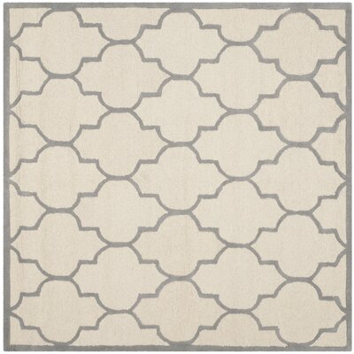 Charlenne Hand-Woven Wool Ivory/Silver Area Rug Rug Size: Square 6