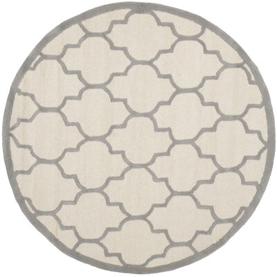 Charlenne Hand-Woven Wool Ivory/Silver Area Rug Rug Size: Round 6