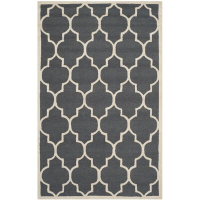 Charlenne Hand-Tufted Dark Gray/Ivory Area Rug Rug Size: Rectangle 5 x 8