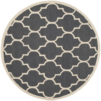 Charlenne Hand-Tufted Dark Gray/Ivory Area Rug Rug Size: Round 6