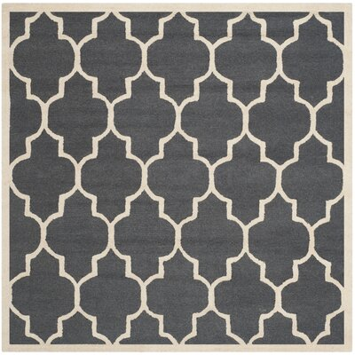 Charlenne Hand-Tufted Dark Gray/Ivory Area Rug Rug Size: Square 6
