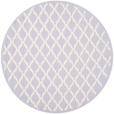 Charlenne Lavender & Ivory Area Rug Rug Size: Round 6