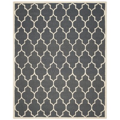 Charlenne Hand-Tufted Dark Gray/Ivory Area Rug Rug Size: Rectangle 8 x 10
