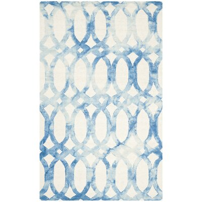 Edie Ivory/Blue Area Rug Rug Size: Rectangle 5 x 8