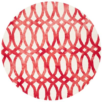 Edie Ivory/Red Area Rug Rug Size: Round 7