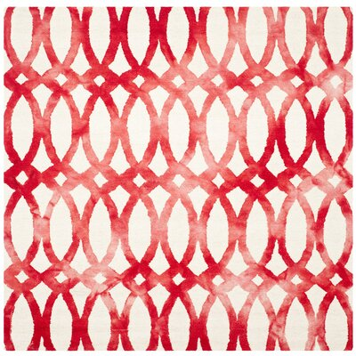 Edie Ivory/Red Area Rug Rug Size: Square 7