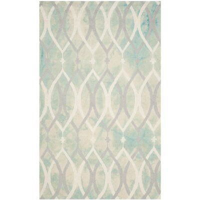 Clements Hand-Tufted Green/Ivory/Gray Area Rug Rug Size: Rectangle 5 x 8
