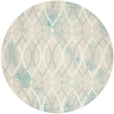 Clements Hand-Tufted Green/Ivory/Gray Area Rug Rug Size: Round 7