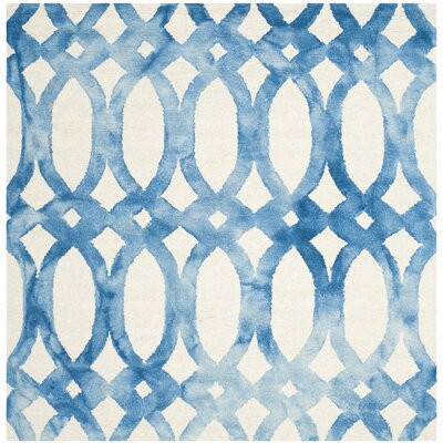 Edie Ivory/Blue Area Rug Rug Size: Square 5
